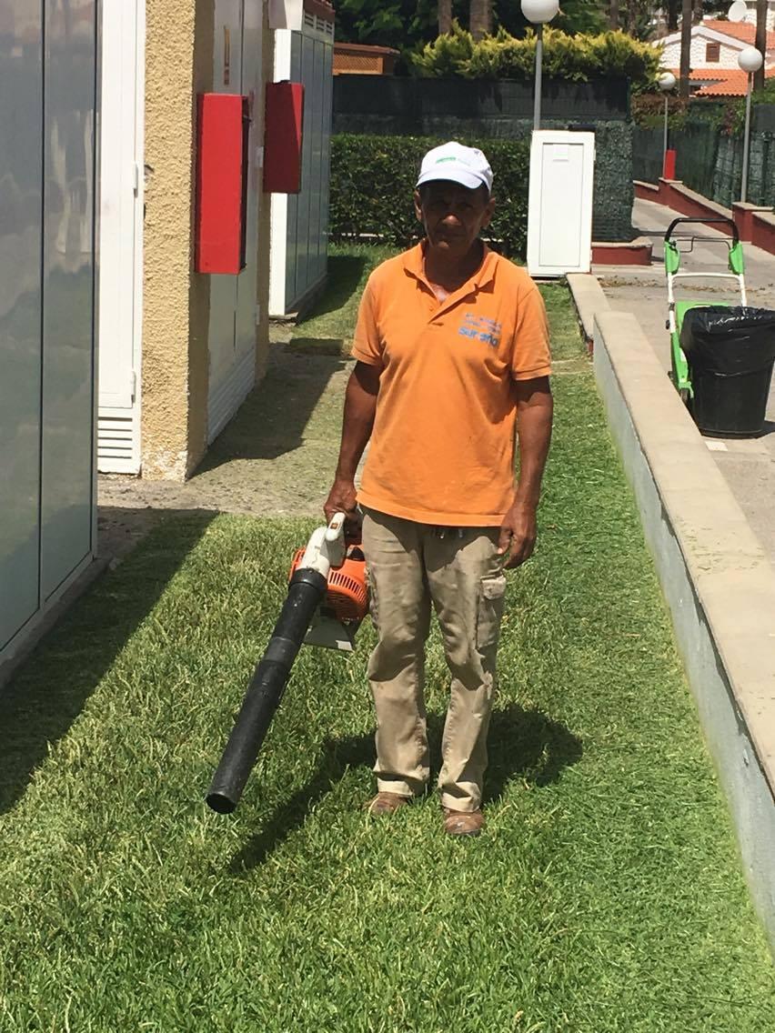 limpiando el jardin